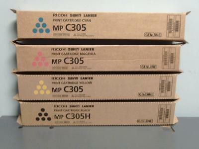 New Genuine RICOH  MP C305H Black &  MP C305 CMY Print Cartridge Set