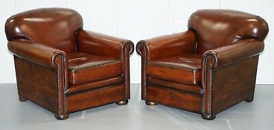 Pair Of Aged Whisky Brown Leather Fully Restored Hand Dyed Club Armchairs
