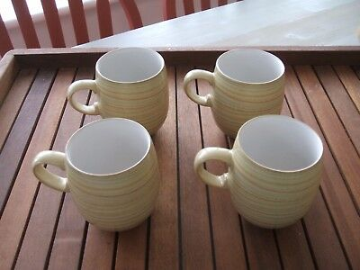 Denby Curved Mugs Caramel Stripes X Four Used