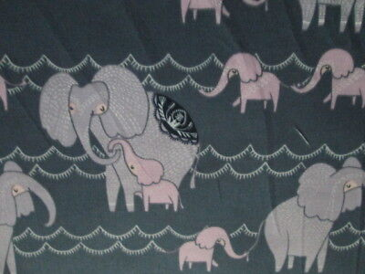 Elephant Baby Elephants Pink Purple Charcoal Black Cotton Fabric Fq