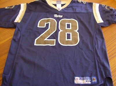a60a25eb4 VINTAGE ST. LOUIS Rams Puma Marshall Faulk  28 Rb Youth Jersey Size ...