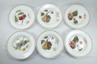 Queens China Hookers Fruit 6 Rimmed Bowls 8.25 inch D Soup/ Cereal/ Dessert, RHS