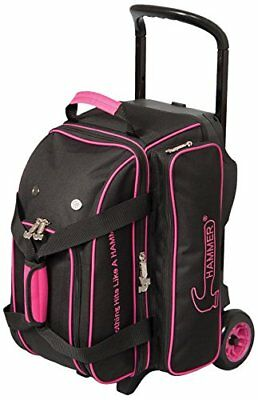 Hammer Signature Double Roller Bowling Bag, Black/Magenta