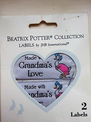 Woven Craft Labels X 2 - Made With Grandmas Love - Beatrix Potter Collection