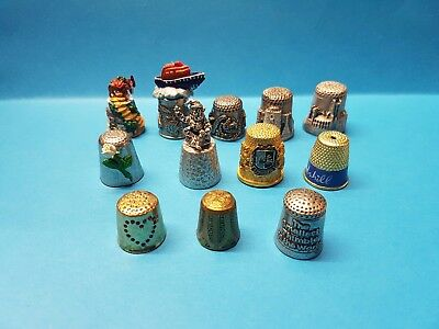 12 X Metal Thimbles Pewter Lifeboat Gnome Castle Diana Worlds Smallest Thimble