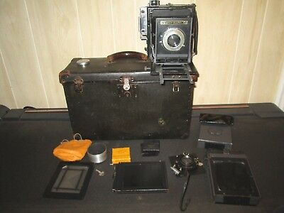 Speed Graphic 4 X 5 Folmer Graflex Folding Camera In Case Ektar Compur Lens Etc.