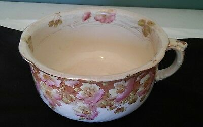 Pink Dogwood Transfer Ware Chamber Pot ,Pinks And Brown 203390