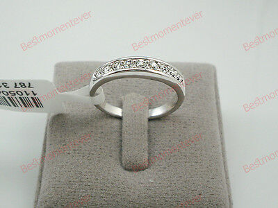 18K White gold 0.3 ct Round cut Diamond Half Eternity Ring size L