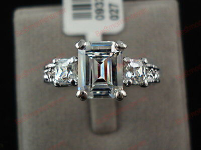 18K White gold 3 ct Emerald cut Diamond Luxury Three Stone Ring size L