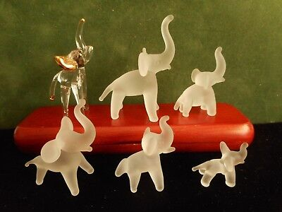 "Vintage Lot 6 Mini Glass elephant Figurines, Small Statues, 2 3/4"" tall Exc Cond"