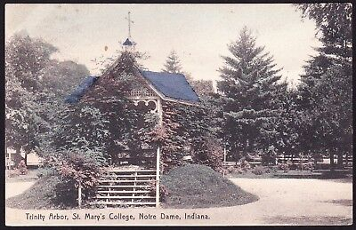 Notre Dame Indiana Trinity Arbor St Marys College mailed 1908 antique postcard