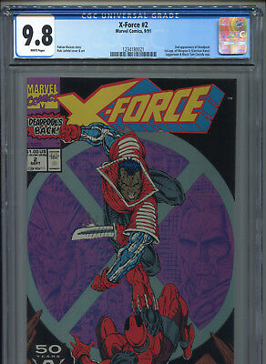 1991 Marvel X-Force #2 2Nd Appearance Deadpool Cgc 9.8 White Pages 1St Weapon X