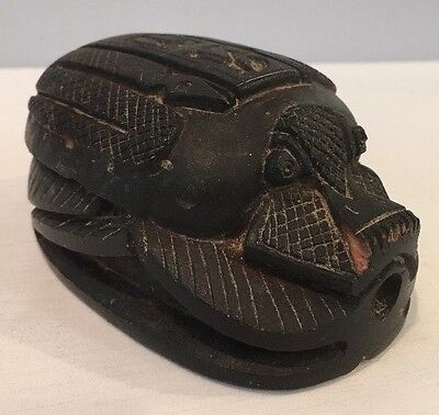 "Antique 4"" Carved Stone or Ceramic Scarab Beetle Figurine Lots of Details Egypt"