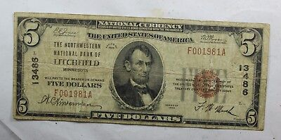 1929 National Currency $ 5 FIVE Dollars National Bank of LITCHFIELD MINNESOTA