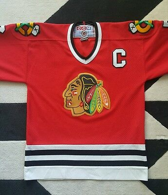 Chelios # 7 CHICAGO BLACKHAWKS ice hockey jersey - Red Vintage boys size L/ XL