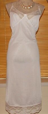 Vintage Damart White Full Slip Soft Silky Delicate Lace Hem & Bust Size 18-20 UK