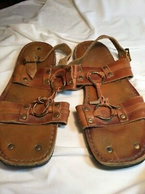 Florida Shoe brown leather hippie sandals 1970 Tire Tread Shoes Sz 11 or 12