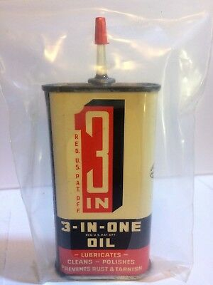 3 in 1 one Household Oil can 3 oz tin Vintage Penetrating lubricating 3-in-one