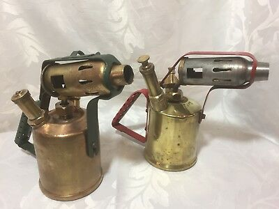 2 Antique Brass Blow Lamps (Lot 6)