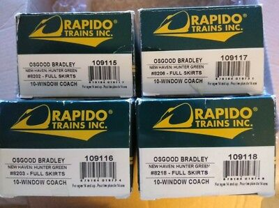 4 RAPIDO HO SCALE OSGOOD-BRADLEY CARS NEW HAVEN (Full Skirts)