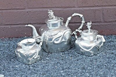 Antique Chinese Export Sterling Silver Tu Mao Xing Three Piece Tea Set Dragon!!!