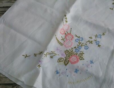 Hand embroided vintage linen tablecloth