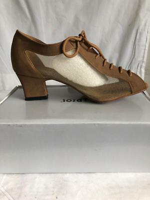 Dsol Coffee Leather & Mesh Womens Practice Dance Shoes Asst Sizes A264304