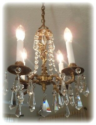 Antique Petite Bronze Chandelier With Crystals 4 Arms