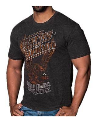 Harley-Davidson Men's Distressed Awakened Eagle Short Sleeve Tee, Vintage Black