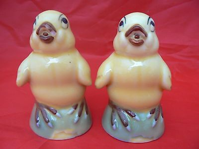 Vintage Pair of Yellow Ceramic Chick/Chicken Figurines