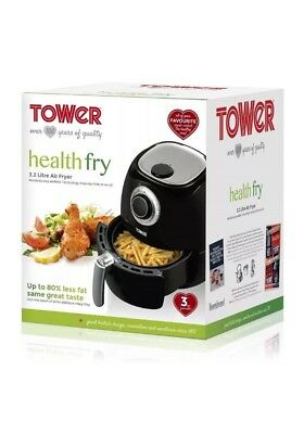 Tower 1350W 3.2L Black LOW FAT Air Fryer Healthy Eating T17005 Brand New Fast