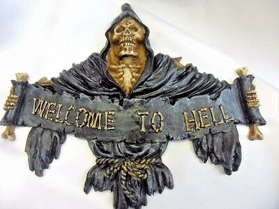Welcome to Hell Gothic wall plaque from Alator giftware. Grim reaper plaque.