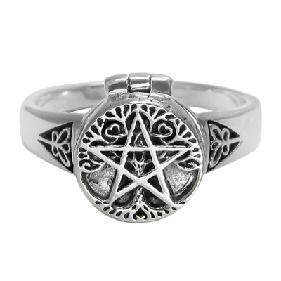 Celtic Endless Knot Argent Sterling .925 Poison pilulier Bague Taille 6 9 8 7 10