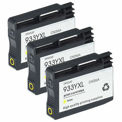 3 Pack Yellow 933XL Ink Cartridge for HP OfficeJet 6100 6600 6700 7110 7610 7612