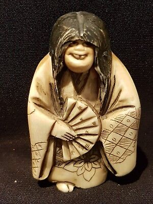 A Meiji period Netsuke of a Noh Actor with rotating mask head and gourd. Signed