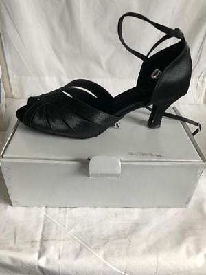 Dsol Black Satin Womens Latin Dance Shoes New A271308