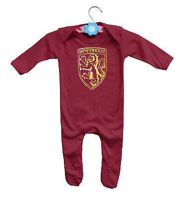 Harry Potter Gryffindor burgundy long sleeve rompasuit bodysuit with gold emblem