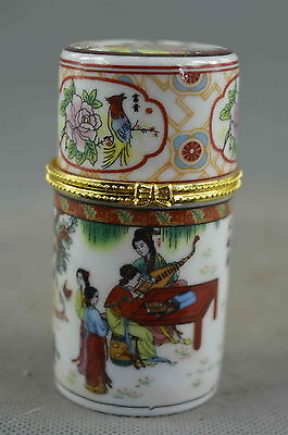 Collectable Handmade Porcelain Paint belle Play Piano Royal Lucky Toothpick Box