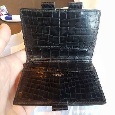 Rare Hermes Paris Black Crocodile Alligator Diary Agenda Portefeuille Bag Borsa