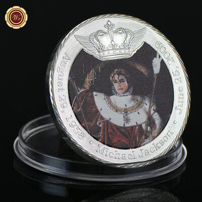 WR The King of Pop Michael Jackson 999 Silver Clad Coin Crown Commemorative Gift