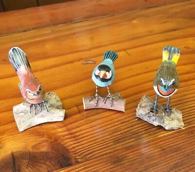 3 Hand Painted Carved Antique Looking Wood Sculpture Small Song Birds