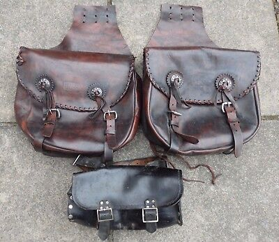Motorcycle Leather Saddle Bags & Tool Role, Biker, Bike Touring, Travel Bags.
