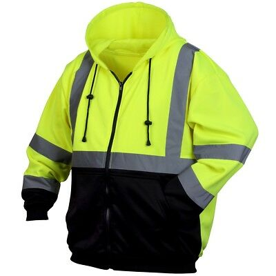 Pyramex Lumen-X Class 3 Reflective Safety Sweatshirt, Hi-Vis Green