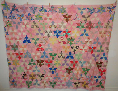 Antique Vintage Quilt Top All Hand Stitched Pink Multi Color 6 Point Star 97 x79