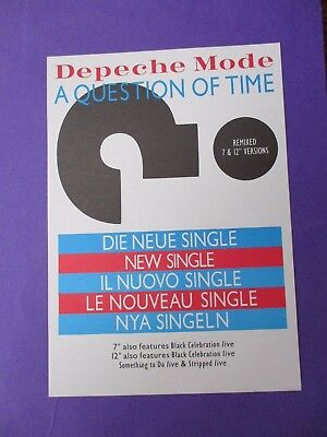 Depeche Mode A Question of Time ORIGINAL 1986 UK PROMO A5 FLYER mute (poster)
