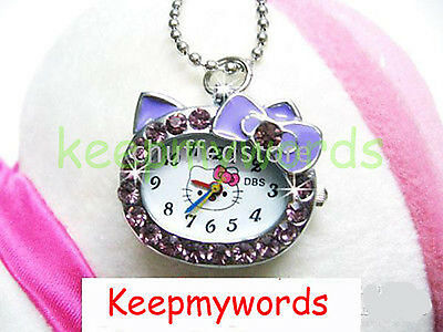New DBS Kitty Cat Crystal Pendant Quartz Pocket Necklace Watch Montres Purple