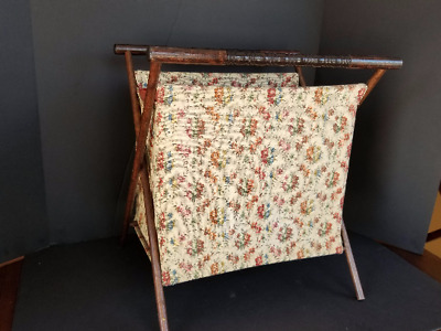 Vintage Wooden Retro Fabric Newspaper Magazine Book Rack Henry Seligman