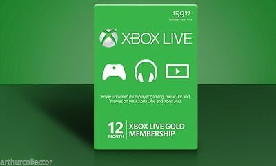 CODE 12 Month Xbox One Live Prepaid Gold FAST SHIPPING
