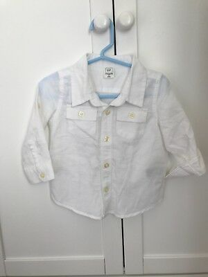 baby boys white linen shirt age 12-18 months never worn from gap