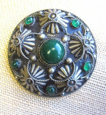 Vintage Signed ALP ITALY Emerald Green  Color Stone Cabochon BROOCH PIN